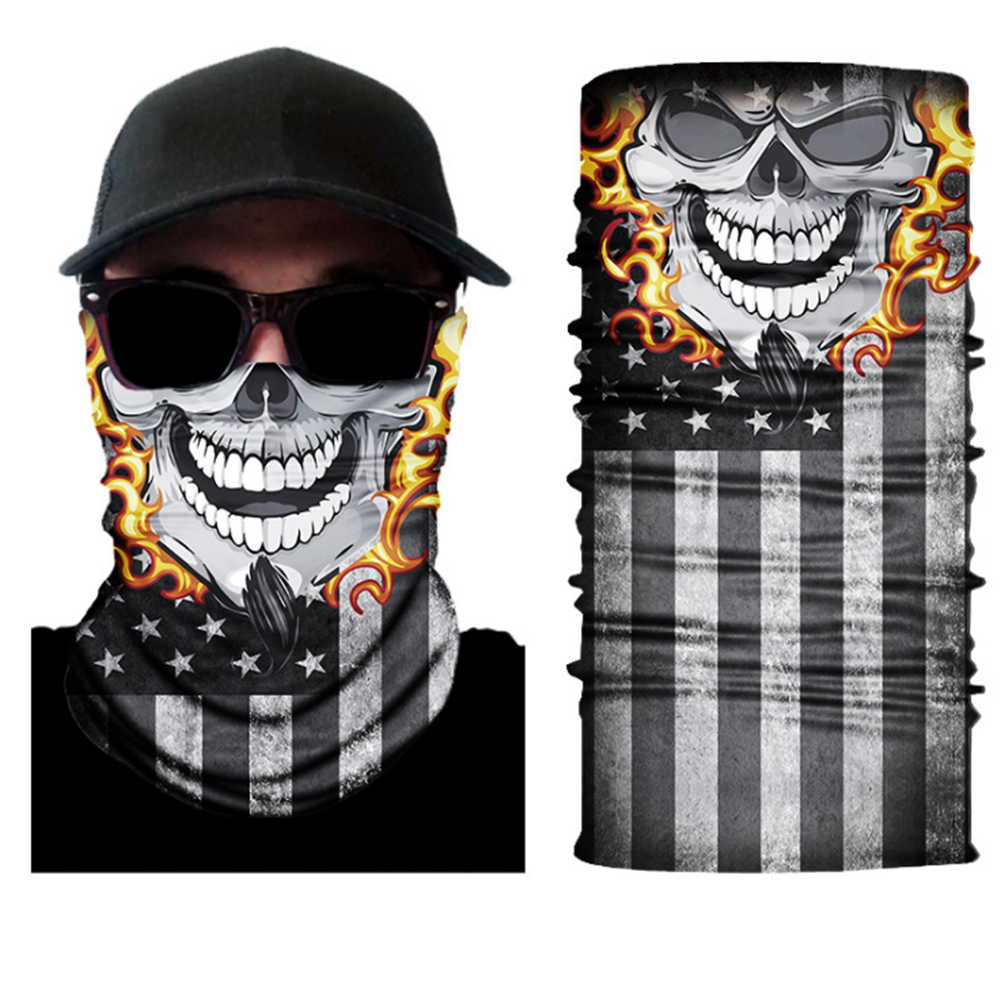 3D Tube Custom Logo Magic Sport Biker Cooling Neck Ghost Skull Face Shields Mask Multifunctional Seamless Tubular Bandanas