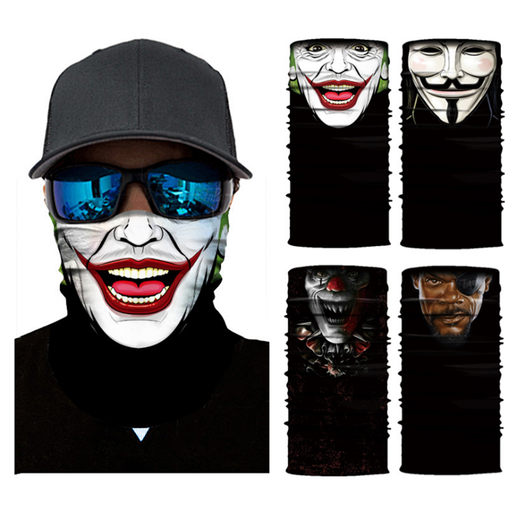3D Seamless Multifunction Magic Clown Joker Men Skull Ghost Shield Tube Face Mask Headband Bandana Scarf Headwear Ring Headscarf